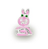 Silver Plated Pink Enamel Bunny Charm