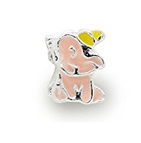 Silver Plated Pink Enamel Elephant Charm