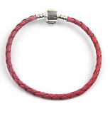 Pink Braided Leather Bracelet 16cm-22cm