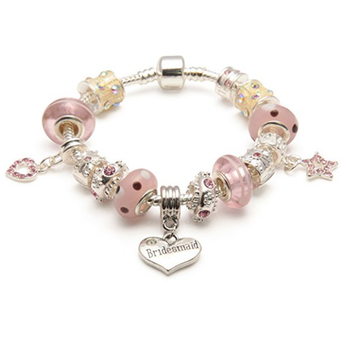 Adult's Bridesmaid 'Pink Me Up' Silver Plated Charm Bead Bracelet