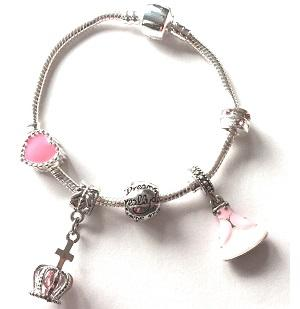 Pink Fairytale Princess Silver Plated Charm Bracelet For Girls