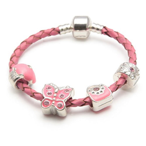 Children's 'Pretty In Pink' Pink Leather Charm Bead Bracelet