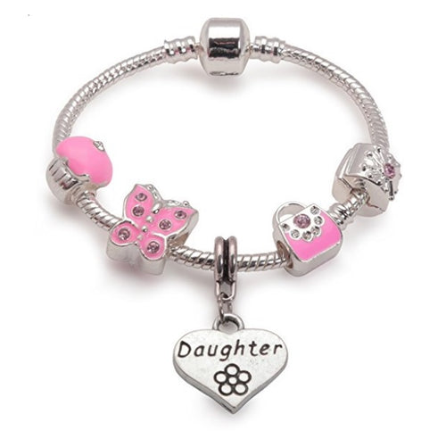 Children's Daughter 'Pretty In Pink' Silver Plated Charm Bead Bracelet