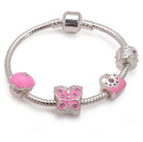 Pretty In Pink Silver Plated Charm Bracelet For Girls