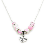 Children's Princess 'Pretty In Pink' Silver Plated Charm Bead Necklace
