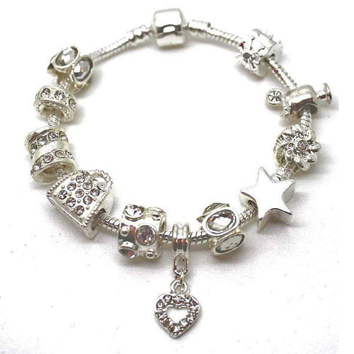 Teenager's 'Prom Queen' Silver Plated Charm Bead Bracelet