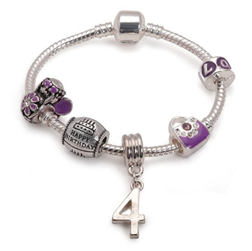 Children's Purple 'Happy 4th Birthday' Silver Plated Charm Bead Bracelet