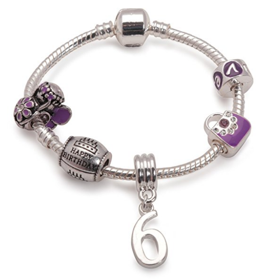 Children's Purple 'Happy 6th Birthday' Silver Plated Charm Bead Bracelet