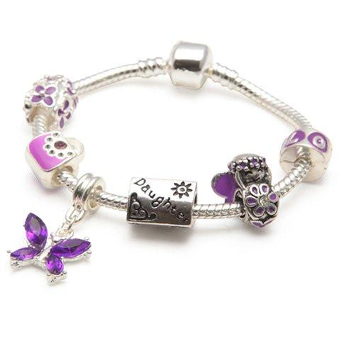 Daughter Purple Fairy Dream Silver Plated Charm Bracelet