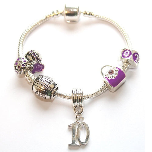 kid bracelet for 10 year old girls. A gift for 10 year old girl. Purple bracelet