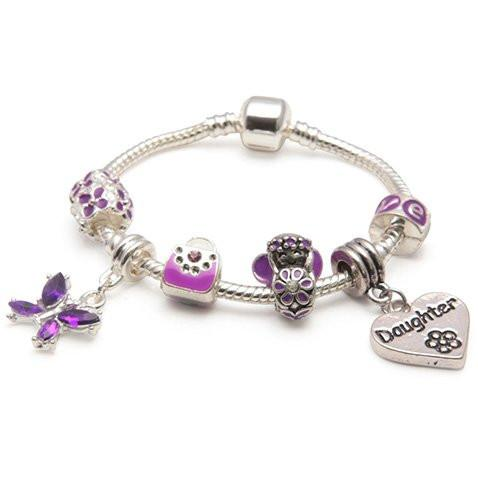 Children's Daughter Heart 'Purple Fairy Dream' Silver Plated Charm Bead Bracelet