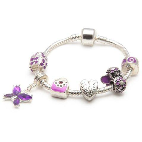 Best Friend Purple Fairy Dream Silver Plated Charm Bracelet