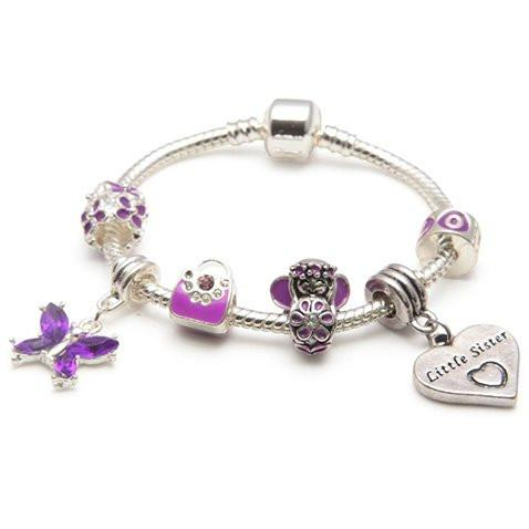 Children's Little Sister 'Purple Fairy Dream' Silver Plated Charm Bead Bracelet