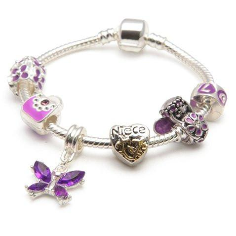 Children's Niece 'Purple Fairy Dream' Silver Plated Charm Bead Bracelet