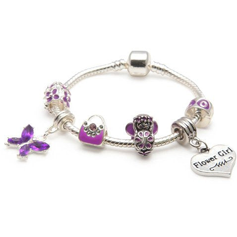 Children's Flower Girl 'Purple Butterfly' Silver Plated Charm Bead Bracelet