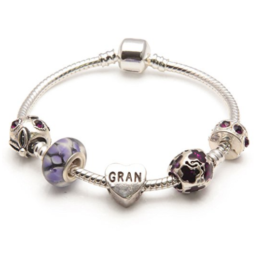 Gran 'Purple Rush' Silver Plated Charm Bead Bracelet