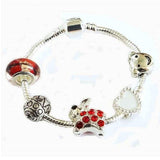 Children's Red Easter 'Bunny Dream' Silver Plated Charm Bead Bracelet