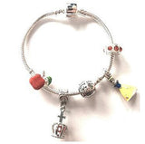 Yellow Fairytale Princess Silver Plated Charm Bracelet For Girls