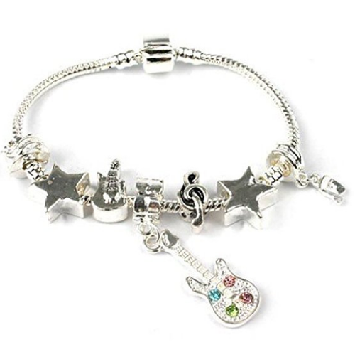 Teenager's 'Rock Star' Silver Plated Charm Bead Bracelet