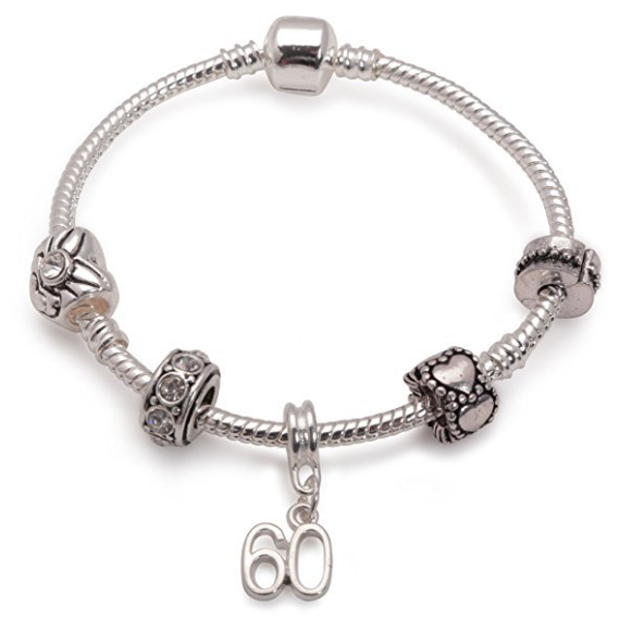 Age 60 'Silver Romance' Silver Plated Charm Bead Bracelet