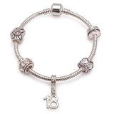 Age 18 'Silver Romance' Silver Plated Charm Bead Bracelet