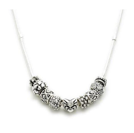 Silver Plated 'Sparkly Silver' Charm Bead Necklace