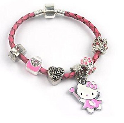 Children's Sis 'Pink Kitty Cat Glamour' Pink Braided Leather Charm Bead Bracelet