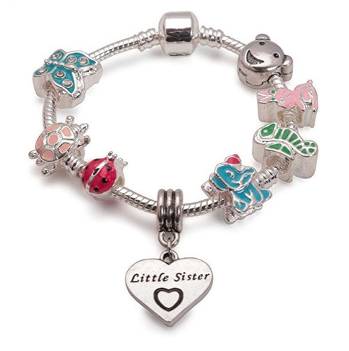 Children's Little Sister 'Animal Magic' Silver Plated Charm Bead Bracelet