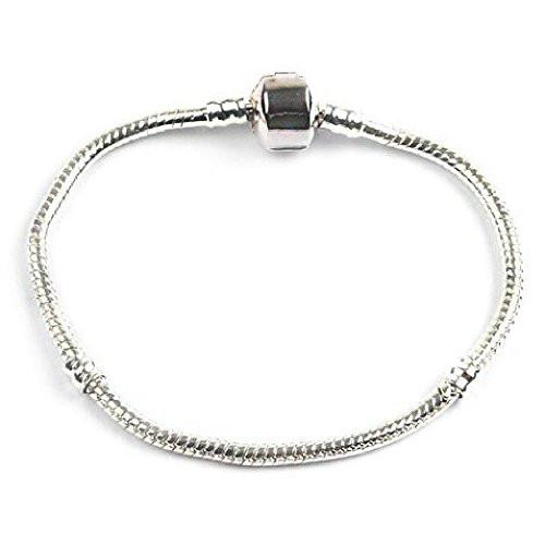 Silver Plated Snap Clasp Bracelet For Slide On/Off Charms and Beads