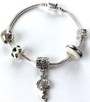 Adult's Grandmother 'Half Heart Love Always' Silver Plated Charm Bracelet