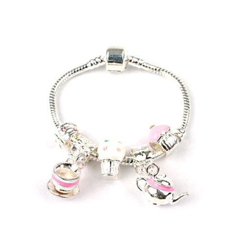 Children's 'Tea & Cake' Silver Plated Charm Bead Bracelet
