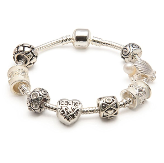 top view of Cascade Cream charm bracelet for teacher
