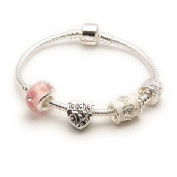 Top view of Pink Parfait charm bracelet for teacher