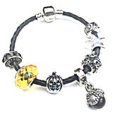 Children's 'Trick or Treat' Halloween Black Leather Charm Bead Bracelet