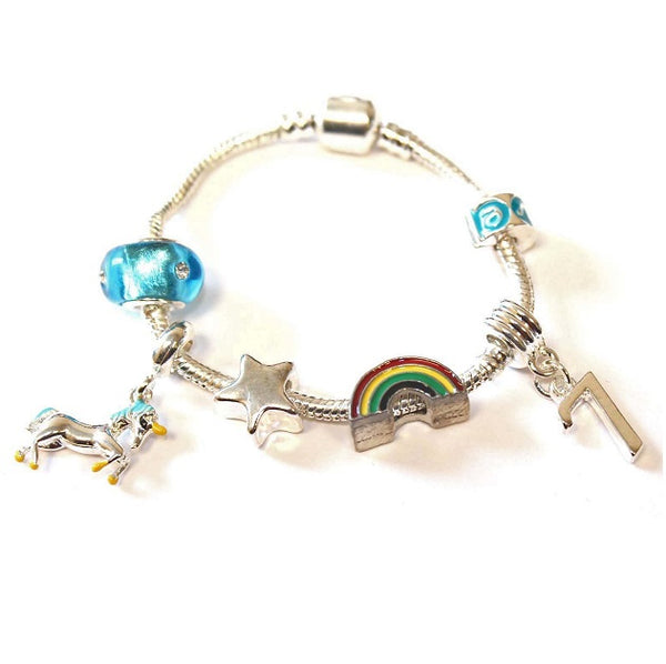 Children's 'Magical Unicorn 7th Birthday' Silver Plated Charm Bead Bracelet