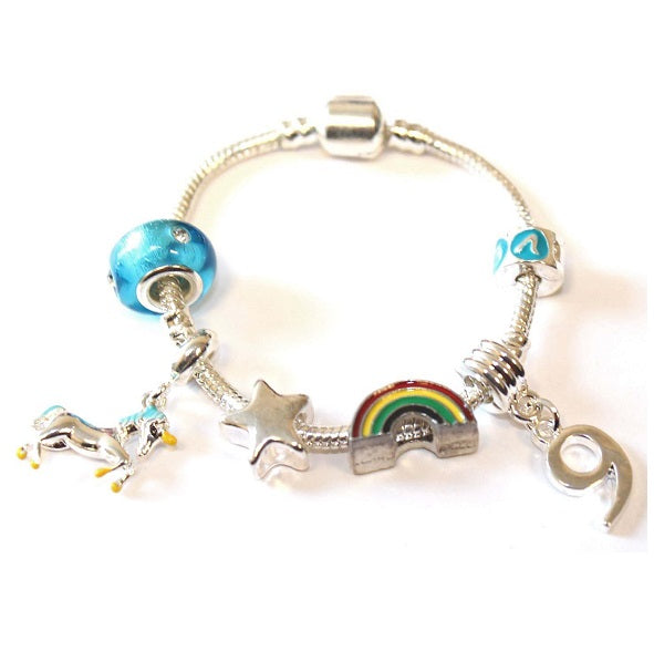 Children's 'Magical Unicorn 9th Birthday' Silver Plated Charm Bead Bracelet