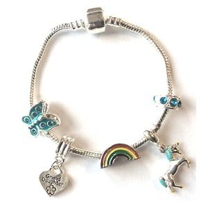 Children's Granddaughter 'Magical Unicorn' Silver Plated Charm Bead Bracelet
