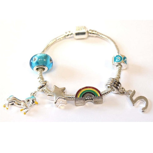 Unicorn bracelet for 5 year old girls. A gift for 5 year old girl