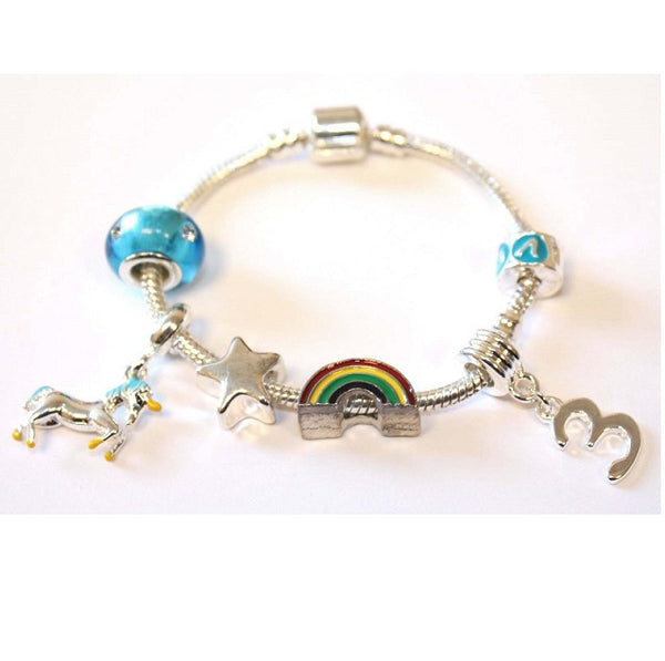 Children's 'Magical Unicorn 3rd Birthday' Silver Plated Charm Bead Bracelet