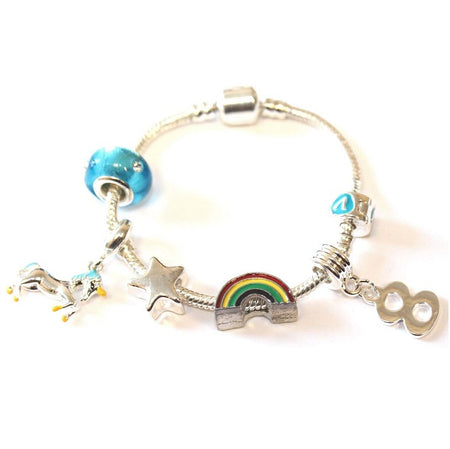 Children's 'Magical Unicorn 5th Birthday' Silver Plated Charm Bead Bracelet