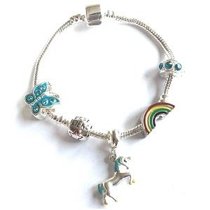 Children's Best Friend 'Magical Unicorn' Silver Plated Charm Bead Bracelet