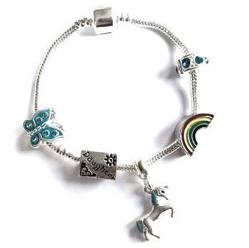 Children's Daughter 'Magical Unicorn' Silver Plated Charm Bead Bracelet
