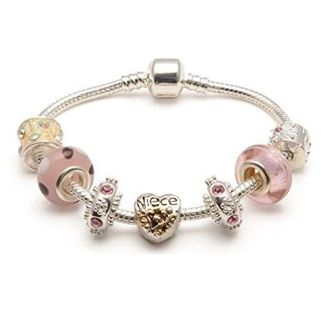 Adult's Niece 'Vanilla Kisses' Silver Plated Charm Bead Bracelet