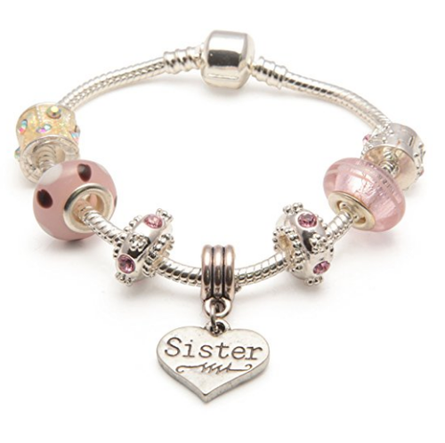 Adult's Sister 'Vanilla Kisses' Silver Plated Charm Bead Bracelet
