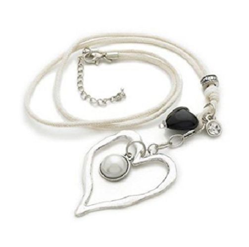 Silver Tone 'Hearts of Inspiration' Crystal Agate Diamante Pendant Leather Cord Necklace 41cm-49cm
