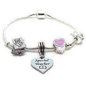 top view of a silver plated Wise Owl charm bracelet for teacher