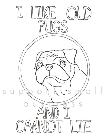 Old Pugs Coloring Sheet