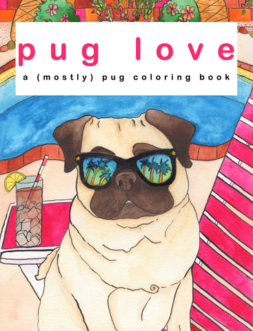 Pug Love Coloring Book Cover