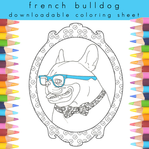 Frenchie in glasses coloring sheet