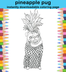 Pineapple Pug Coloring Page